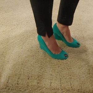 Teal suede wedge pumps, size 8